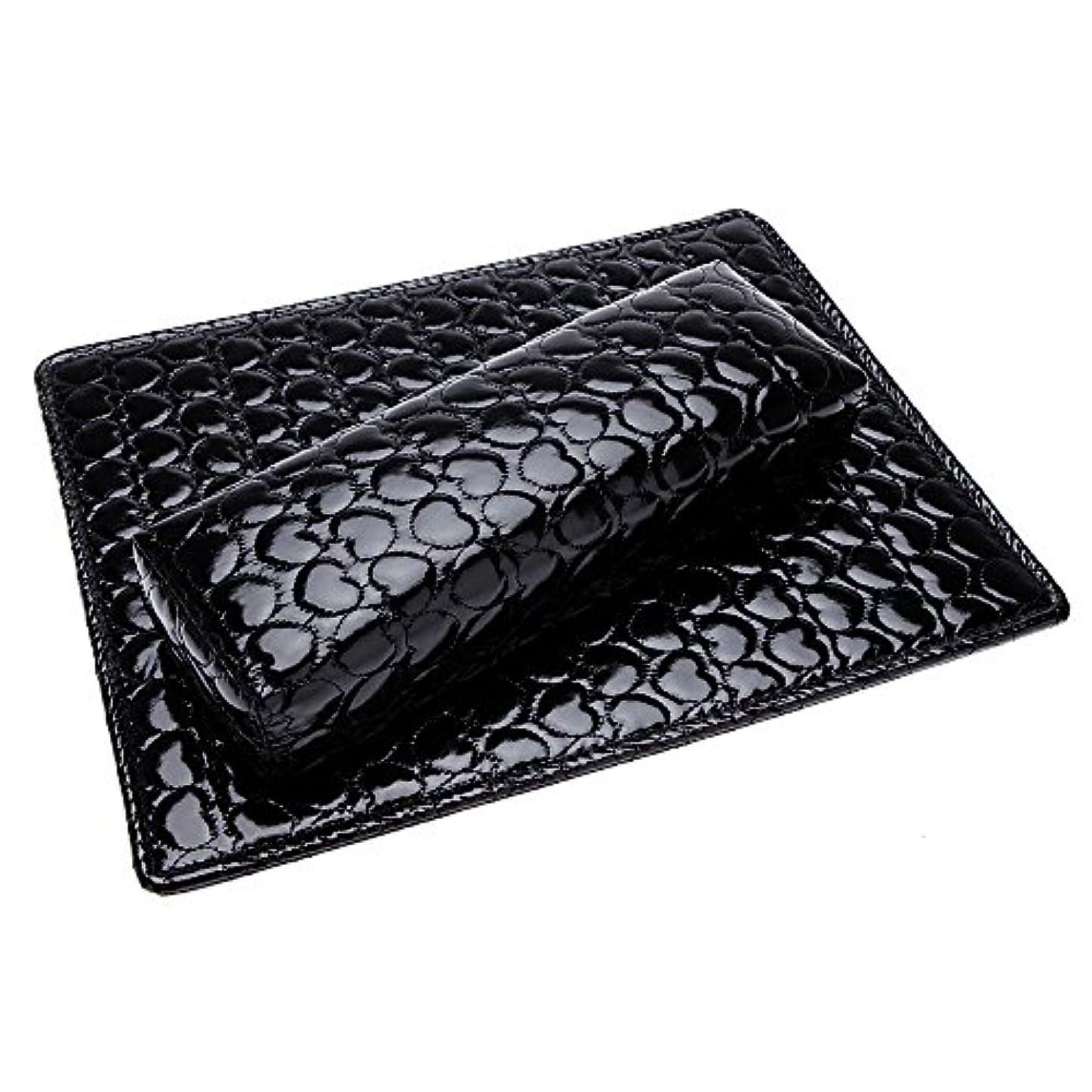 比較的干渉するレッスンSODIAL ソフトハンドクッション枕とパッドレストネイルアートアームレストホルダー マニキュアネイルアートアクセサリー PUレザー 黒