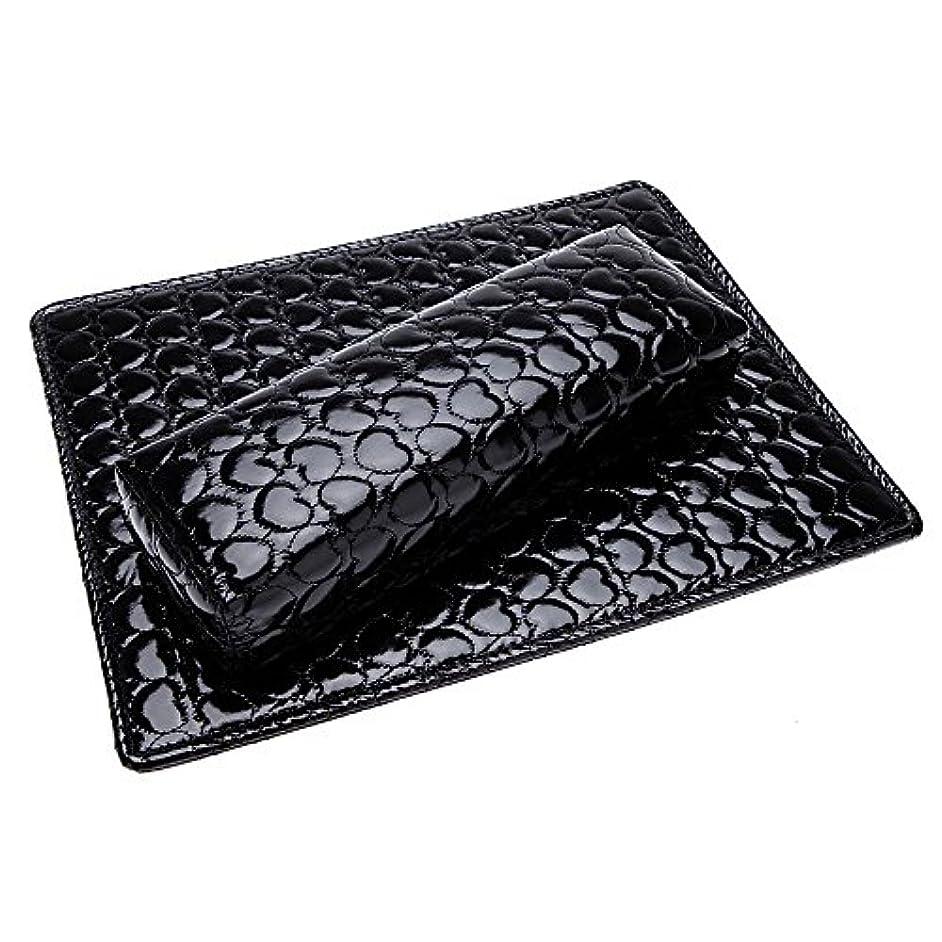 憤る一乳SODIAL ソフトハンドクッション枕とパッドレストネイルアートアームレストホルダー マニキュアネイルアートアクセサリー PUレザー 黒