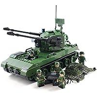 ミニフィギュア兵士と軍の対空戦車 - 軍事ビルディングブロック玩具