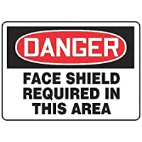 Accuform MPPE030VP Sign Legend DANGER FACE SHIELD REQUIRED IN THIS AREA 7 Length x 10 Width x 0.055 Thickness Plastic 7 x 10 Red/Black on White [並行輸入品]