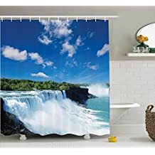 Natural Waterfall Decor Collection Big Powerful Niagara Waterfalls Flowing Fastly Dreamy Wild Space Photo Polyester Fabric Bathroom Shower Curtain 60× 70 Inches