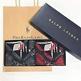Ralph Lauren ラルフローレン ハンドタオル タオルハンカチ ギフトBOX付きハンドタオル2枚セット ボーダー マドラス (ストーンリバーレッドブラック)