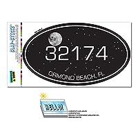32174 オーモンドビーチ, FL - Night 空 - 楕円形郵便番号ステッカー