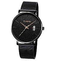 防水超薄型シングルカレンダー付きメンズ腕時計メッシュビジネス スポーツスタイル 高品質ステンレス鋼防水ファッションクォーツ時計