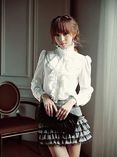【2色から選べる】 気品溢れる フリルブラウス リボン付き 詰襟 ブラック ホワイト (ホワイト Lサイズ)