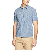 Blazer Men's Thomas Short Sleeve Check Shirt, Aqua-Navy