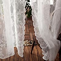 MAXYOYO韓国プリンセス花柄ホワイトレースリビングルームウィンドウカーテンローマンシェードWearロッド波エッジカーテン2パネルセット W*L:57