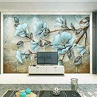 3D抽象ビンテージフラワーバードモダン壁画、リビングルームの壁紙の写真の壁紙、キッズネイチャープリントウォールペーパー280 cm(W)x 180 cm(H)
