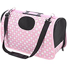 Pet Travel Carrier, Foldable Portable Pet Dog Cat Carrier Bag Ventilated Soft Sided With Sturdy Bottom Perfect for Small and Medium Sized Dogs Cats (pink plaid)