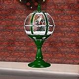 Fraser Hill ファーム 23インチ ミュージカル テーブルトップグローブ グリーン サンタシーンと雪の機能付き クリスマスデコレーション