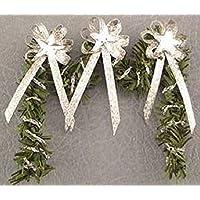 ドールハウスミニチュアクリスマス暖炉Swag、シルバー星and Bows