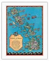 ハワイ地図のテリトリー - ビンテージカラーの地図製作のマップ によって作成された ルース・テイラー・ホワイト c.1931 - キャンバスアート - 51cm x 66cm キャンバスアート(ロール)