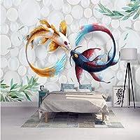Wuyyii 壁紙壁画カスタムリビングルーム寝室手塗りファッション水彩魚鯉壁画家の装飾 - 400×280センチ