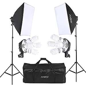 Andoer 写真照明用セット 14件キット ソフトボックス 電球ソケット 45W電球 ライトスタンド キャリングバッグ付き