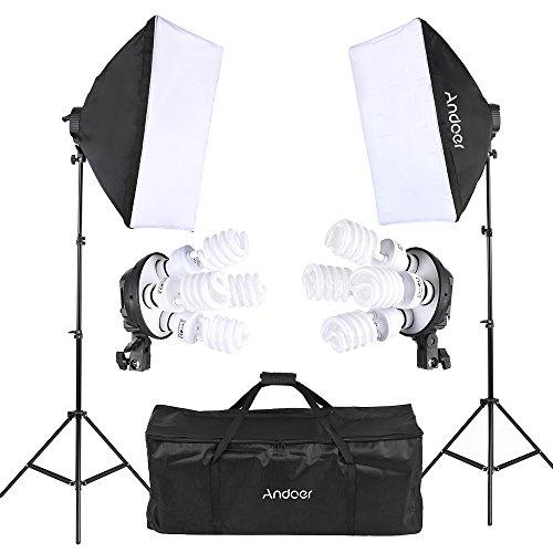 Andoer プロ 撮影スタジオ 写真照明キット 豪華14件 2つソフトボックス+2つ 4in1電球ソケット+8つ 45W電球 + 2つ ライトスタンド + キャリングバッグ 撮影機材 スタジオ撮影の必需品 万能