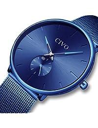 [チーヴォ]CIVO 腕時計薄型 メンズ時計ブルー アナログクオーツメッシュ防水ウオッチ シンプルデザイン ステンレススチール おしゃれ ファッション ビジネス カジュアル男性腕時計