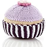 Pebble Fair Trade Hand Made Rattle - Cupcake with Lilac Icing and Flower [並行輸入品]