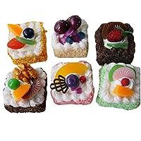 6ピーススクエア人工ケーキ偽ケーキモデルパーティー装飾ベーカリーディスプレイ