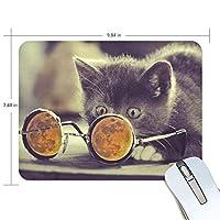 マウスパッド 面白い猫 眼鏡 疲労低減 ゲーミングマウスパッド 9 X 25 厚い 耐久性が良い 滑り止めゴム底 滑りやすい表面