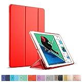 MS factory iPad 新型 9.7 2017 ケース 一体型 スマート カバー 耐衝撃 ソフト フレーム オートスリープ 新iPad 第5世代 スタンド ケースカバー 全9色 ブライト レッド 赤 IPD5-S-TPU-RD