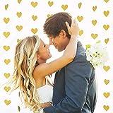 Hestya ペーパーハートガーランド ハートハンギングバナー 2パック バレンタイン/結婚式/パーティーの装飾に 各10フィート 縦型グリッターゴールド 水平 グリッターゴールド
