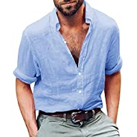 EastLife Mens Linen Hippie Shirts Casual Button up Long Sleeve Loose Fit Beach Shirts