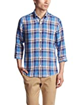 Linen Check 7/10 Sleeve Buttondown Shirt 3216-166-0614: Light Blue