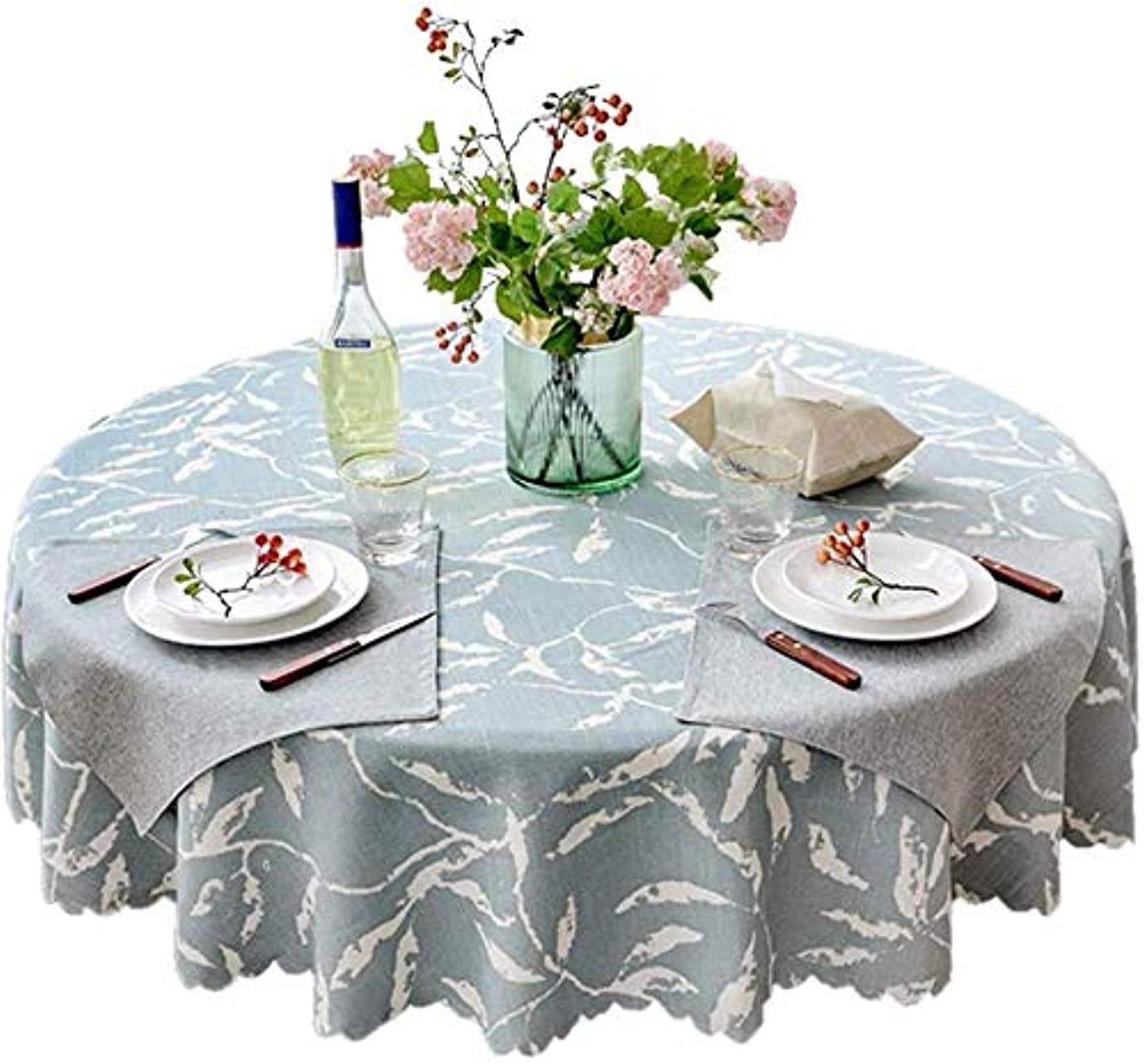ラジカル割り当てる北東宴会/レストラン用に掃除しやすい丸いテーブルクロス-コットン生地のテーブルクロス(色:青、サイズ:200cm)