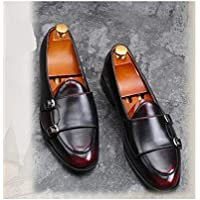 CHENDX Shoes Retro Upscale Anti-Slip Oxford for Men Classic Loafers with Dual Monk Straps Slip on Genuine Leather Rubber Sole Stitch Burnished Style (Color : Wine red, Size : 9.5 UK)