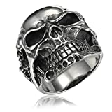 HOUSWEETY ファッション アクセサリー 316Lステンレス 髑髏 海賊 頭蓋骨 スカル ドクロ メンズ リング 指輪 ゴシック(25号)