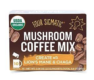 Four Sigma Foods - Mushroom Coffee - Lion`s Mane & Chaga - 10 Sachets by Four Sigma Foods
