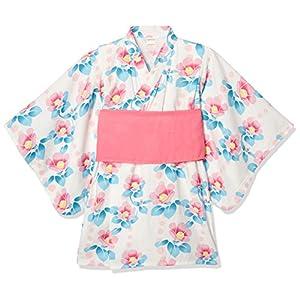 [タキヒヨー] 椿柄浴衣風ワンピース ガールズ 342447208 ピンク 日本 90 (日本サイズ90 相当)