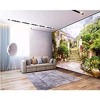 Wuyyii 紙の3D壁画写真ヨーロッパの都市庭園の風景3Dの背景壁の装飾的な絵画-200X140Cm