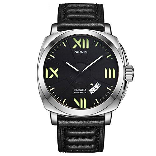 Parnis パーニス司令官プラスseriers発光メンズレザー腕時計のような自動機械式時計腕時計