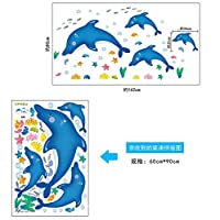 Weaeo 漫画イルカウォールステッカーDiy幼稚園装飾ステッカーPvc取り外し可能な防水