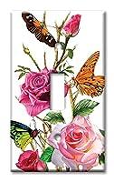 アートプレートブランドスイッチ/壁プレート–Butterflies on Roses マルチカラー 8518-S