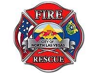 Maltese Cross Shaped北Las Vegas Fire Rescueロゴステッカー( NV消防士)