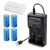 4本 16340 充電池 3.7V 1000mAh リチウムイオン電池 USB多用途電池充電器 電池ケース 懐中電灯、ヘッドライト、カメラに適用 RCR123Aバッテリー
