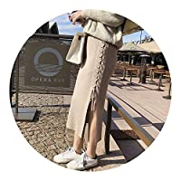冬なのに可愛いい秋 冬の な風フロントスプリットストラップハイウエストロングバッグスカートニットスカートレディースの,カーキ,ワンサイズ