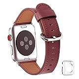 WFEAGL コンパチブル Apple Watch バンド,は本革レザーを使い、iWatch Series4/3/2/1、Sport、Edition向けのバンド交換ストラップです コンパチブル アップルウォッチ バンド (38mm 40mm, ワインレッド)