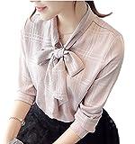 (ビアヴィス)BAvis ボウタイシャツ おしゃれトップス 格子 柄 ながそで レディース ピンク XL エレガンス リボンブラウス 桃色 桜色 シンプル デザイン 美シルエット サマー 仕事服 おおきい 大きい 大き目 オトナ 大人可愛い XL 169