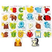 Greensun TM木製アルファベット形状マッチングパズルジグソートイキュートカートゥーン動物Letters Baby PreschoolカードCognition教育パズル
