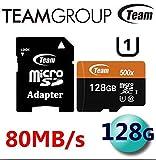 Team microSD/SDHC/SDXCカード 国内正規 10年保証 (128GB SDXC, UHS-1 Class10 Read: 80MB/sec; Write: 20MB/sec)