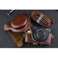 カメラケース Cyber-shot RX100 M2 M3 M4 M5 カメラバック 一眼レフ DCS-RX100シリーズ 対応 PUレザーケース ショルダーベルト付き ボッチ コーヒー Kanagali
