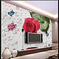 Lcymt カスタム壁紙壁画写真モダンでスタイリッシュな3 Dチューリップ蝶テレビの背景の壁バラの花は背景の壁を削除します-250X175Cm