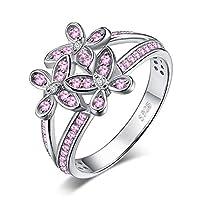 JewelryPalace バタフライフラワー ピンクサファイア ステートメントリング 925スターリングシルバー スプリットシャンク ピンク