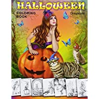 Halloween Coloring Book. Grayscale: Coloring Book for Adults