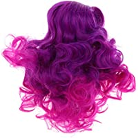 D DOLITY 18インチ 人形髪 ウィッグ ドールかつら アメリカンガール 長波状 合成毛 30cm 全3色   - 紫+赤