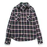 (ファッションレター)FashionLetter レディース ファッション チェック 柄 長袖 半袖 シャツ ブラウス b172 (M,グリーン)