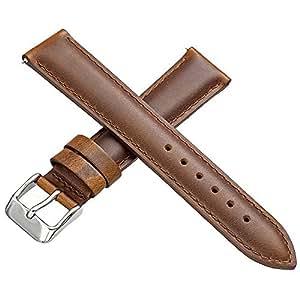 メキシコレザー 本革 時計用 ベルト ワンタッチで装着簡単 バネ棒加工付き (ブラウン, 18mm)